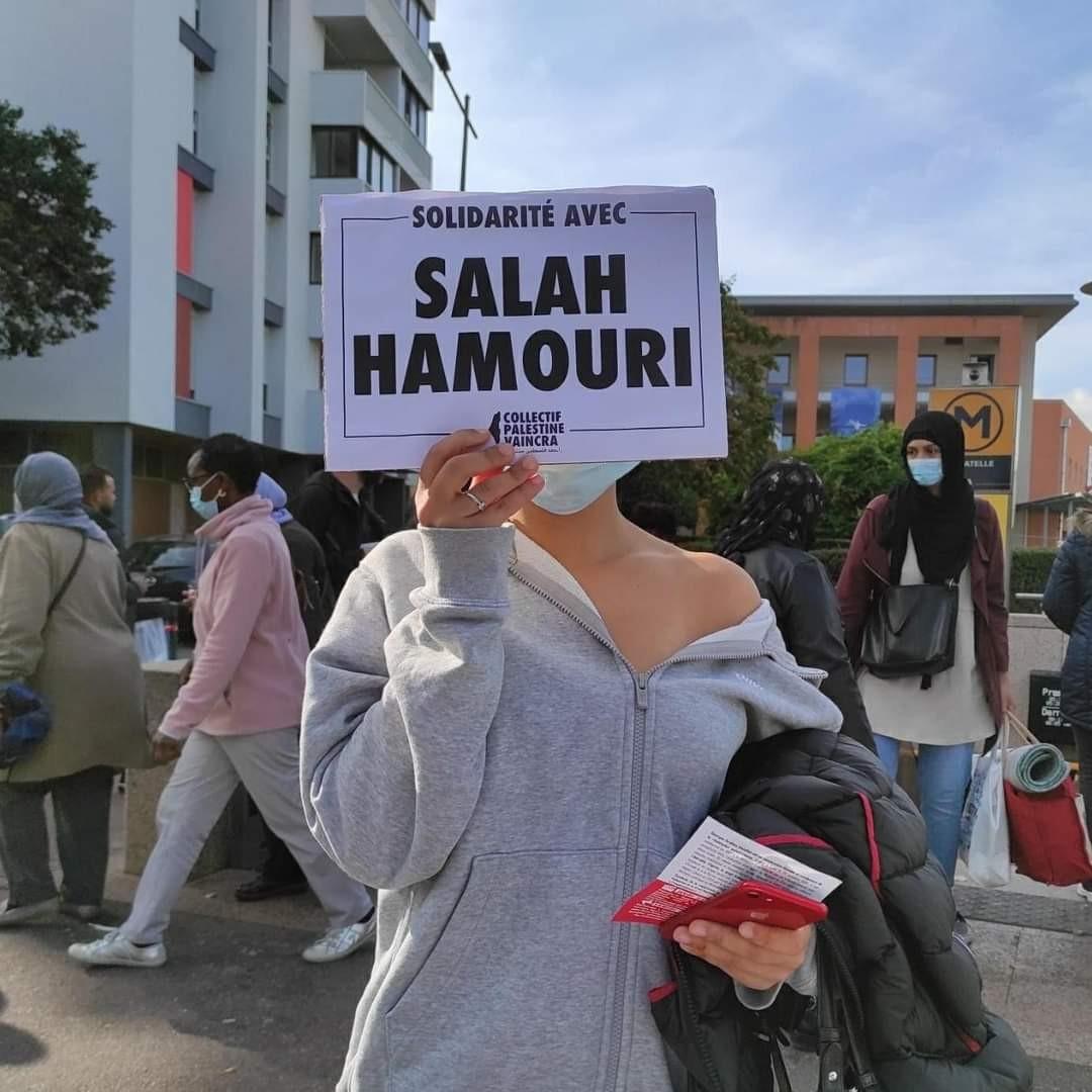 بالصورفرنسا: العشرات يتضامنون مع المحامي الفلسطيني صلاح الحموري